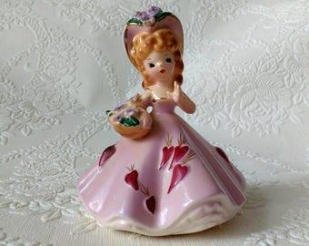 "Vintage Josef Originals February ""Doll of the Month"" Valentines Hearts Figurine"