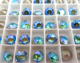 12 Light Turquoise Factory Coated Glacier Blue Swarovski Crystal Chaton  Stone 1088 39ss 8mm
