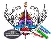 Eternal Love Digital Download Coloring Page Myka Jelina Art Birds Swallow Heart Tattoo