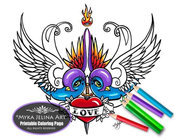 Eternal love digital download coloring page myka jelina art for Myka jelina coloring pages