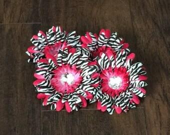 75% OFF- Fuchsia Zebra Gerbera Daisy Flower Head Only w/ Jeweled Center