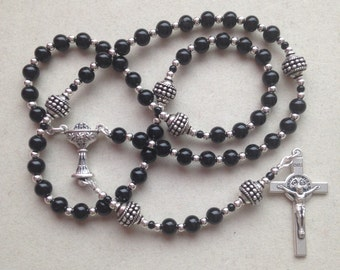 Classic St. Benedict Black First Holy Communion Keepsake Rosary