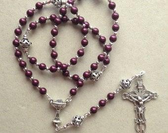 First Holy Communion Princess Keepsake Rosary Swarovski Crystal Pearl