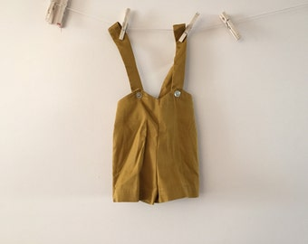 Vintage 1960s Baby Overalls Mustard yellow sz 24 Months