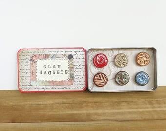 Rustic Clay Fridge Magnet Set of 6 - Ceramic Magnet Set