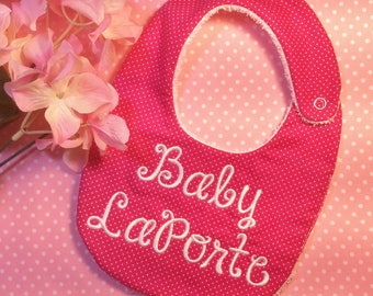 Personalized Custom Baby Bib, Baby Burp, Baby Hat or Set