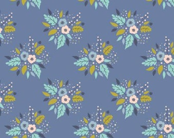 Meadow- Blue Bouquet - From Camelot -Floral -Cotton Fabric- Flowers-  By the yard & Half yard -Apparel Cotton.