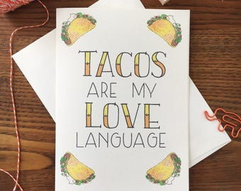 Taco Love. Taco Card. Taco Tuesday. Taco Thank You Card. Card for Friend. Card for Foodie. Blank Card. Just Because. Taco Lover. Taco Art