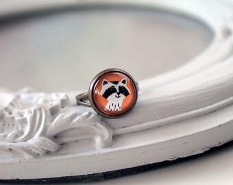 Cute raccoon ring  feminine sweet cute kawaii retro vintage orange