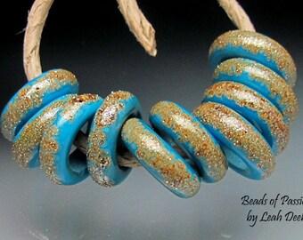Handmade Glass Ring Beads of Passion Leah Deeb - 10 Turquoise Organics - Xtra Sm