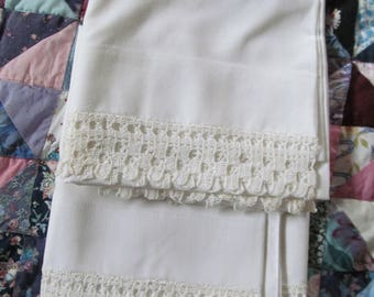 King Size Pillowcases with Crochet Edge