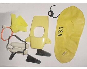G I Joe- Hasbro GI Joe - Yellow Raft - Divers Tanks - Divers Mask -Swim Fins - and More