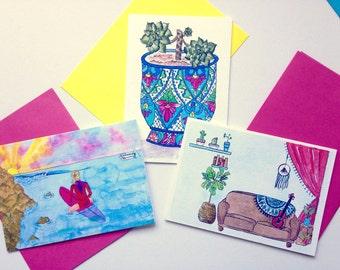Australian Greeting Cards - 6 pack, you choose - summer beach boho - A6 watercolour print