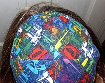 Colorful Alef Bet Hebrew Alphabet kippah or lined yarmulke -- toddler or regular sizing---great Judaica gift