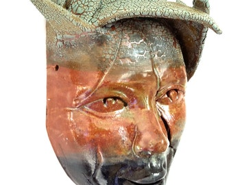 Forest guardian mask - wall decoration -ceramic art