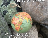 Peace on Earth - Vintage Style GLOBE Christmas Ornament -Soft Color - Old World Style