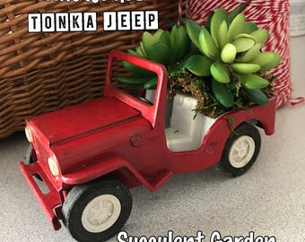 Vintage Red Tonka Jeep - Super Cute SUCCULENT Planter