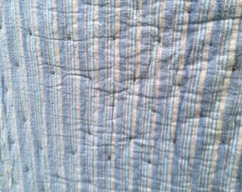 Vintage Hand Tied  Blue Striped Quilt or Comforter