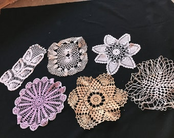 Lot of 6 Vintage Hand Crochet Doilies (Various Sizes, Colors and Styles)