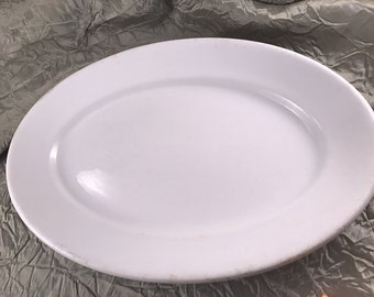 Vintage Carr China Co Oval White Restaurant Ware Platter