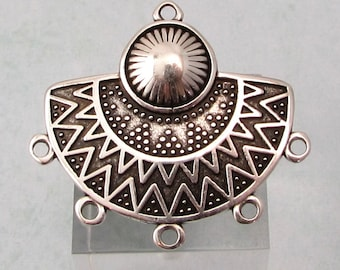 Boho Ethnic Pendant, 5 Loops, Antique Silver, AS433