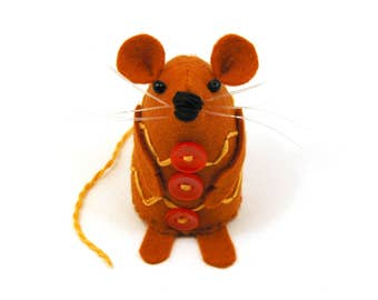 Gingerbread Mouse - Collectable Christmas rat artists mice felt mouse cute soft sculpture toy stuffed plush doll art ornament gift for xmas