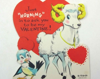 Vintage Children's Novelty Valentine Greeting Card with Cute Mountain Goat and Blue Bird