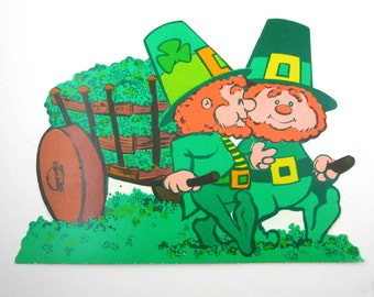 Vintage Cute Leprechauns with Cart of Shamrocks Die Cut Decoration for St. Patrick's Day