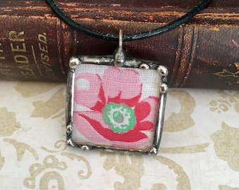 Vintage Linen Recycled, Soldered Glass Charm, Boho Style, Hippie Wedding, Red and Pink Flower Handkerchief, Artisan Jewelry, Necklace