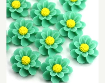 50% Off Sale Flower Cabochons Plastic Chrysanthemum 18mm Turquoise (6) PC382