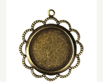 50% OFF SALE Settings Filigree Edge 18mm Top Loop - Brass Ox (3) FI447