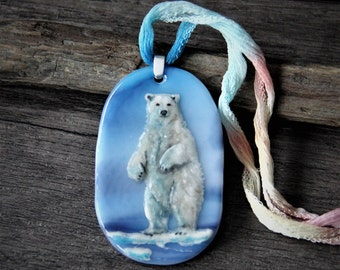 Amazing Polar bear necklace , fused glass jewelry - Fused glass pendant -