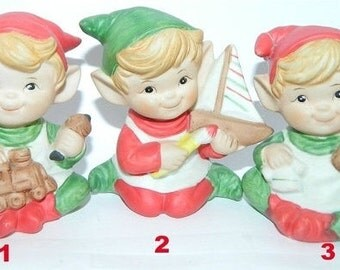 Christmas Elves, Pixie, Gnomes, Elf, Toy Shop Elves, Homco Christmas 1970's Trio, Santa's Christmas Elves, X-Mas Holiday