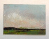 ACEO 1624, oil painting, landscape, 100% charity donation, original painting, miniature art, oil painting on paper, clouds