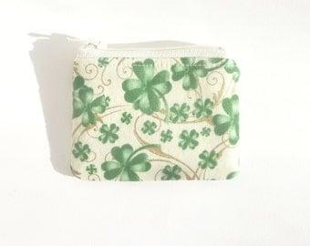 st. patricks day zipper pouch. cute green coin purse. green fabric change purse. small teacher gift idea