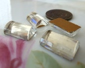 4 Vintage German, Clear Striated Log Cabs, Cabochons, 13 x 9mm x 4.5mm thick, C39