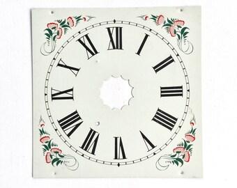 Vintage Clock Face Enamel Roman Numerals Square