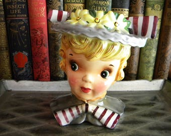 Vintage Headvase Sweet Little Girl with Hat and Bows Napco Enesco Relpco