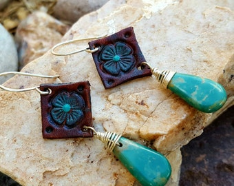 Tooled Leather Flower - Turquoise Teardrop Earrings - Sterling Silver Wire Wrapped - Western Jewelry - Cowgirl Earrings - Rustic Jewelry