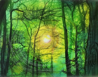 Spring sunrise, in green, Aceo, Original, mixed media photograph, miniature art, artist trading card, little gifts, #dahliahousestudios