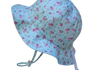 Kids Sun Hat with Chin Strap, Drawstring Adjust Head Size, Breathable 50+ UPF (Retro Rose)
