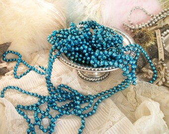 4 vintage soft turquoise mercury glass bead garlands, old glass christmas beads, four long strands, mid century holiday décor