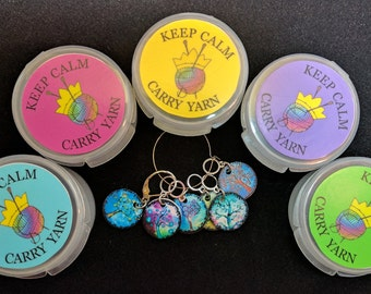Keep Calm, Carry Yarn small round box for KNITTERS