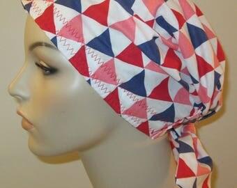 Scrub Cap  Chemo Cap Triangles Print Hat, Cancer, Chemo Hat, Turban, Hair Loss