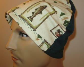 Mens Flannel Fish and Fowl Chemo Hat Sleep Cap Cancer Cap Keep Bald Heads Warm cj hats