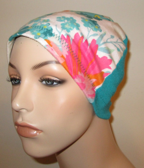 Turquoise Coral  Flannel Sleep Cap, Cancer Cap, Alopecia , Chemo Hat
