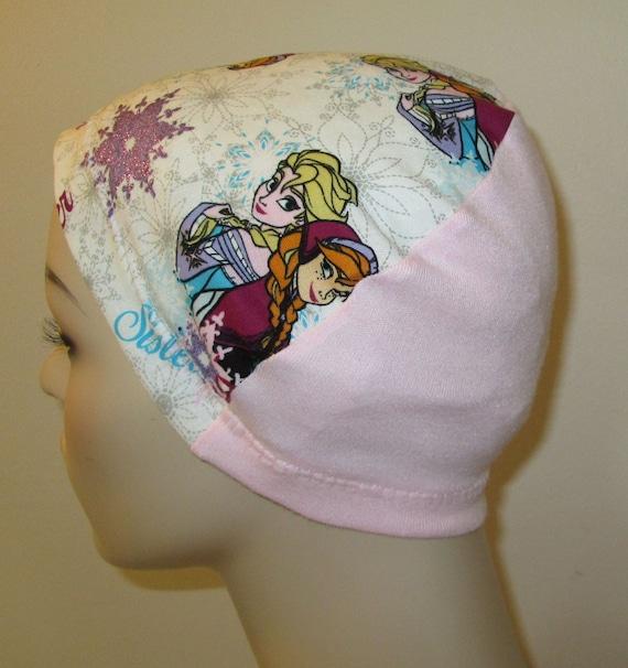 Kid's Chemo Hat, White Frozen,  Kid's Cancer Cap, Alopecia, Sleep Cap