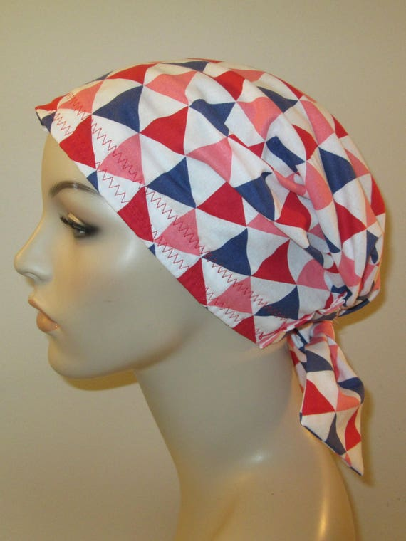 Scrub Cap  Chemo Cap Triangles Print Hat, Cancer, Chemo Hat, Turban, Hair Loss