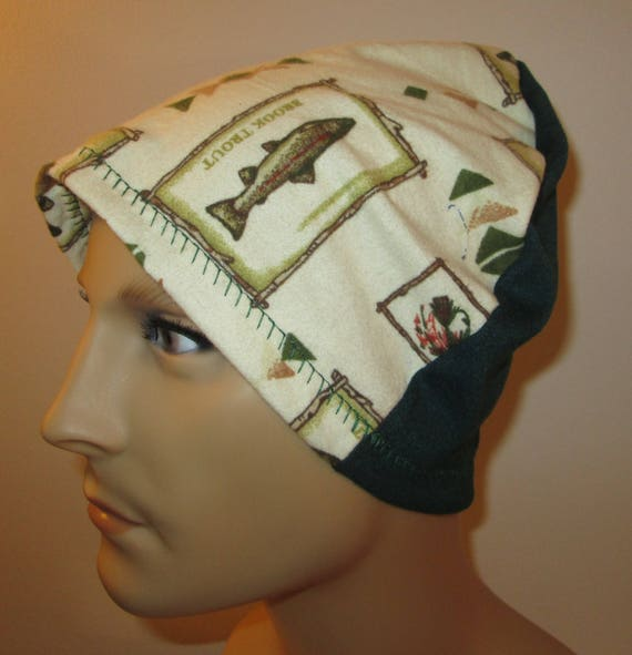 Mens Flannel Fish and Fowl Chemo Hat Sleep Cap Cancer Cap Keep Bald Heads Warm cj hats
