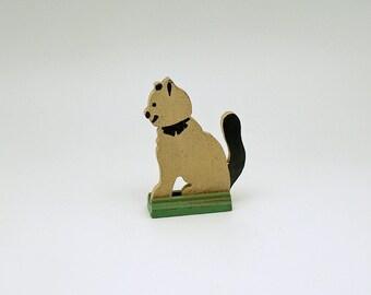 Vintage Miniature Wood Cat Figurine